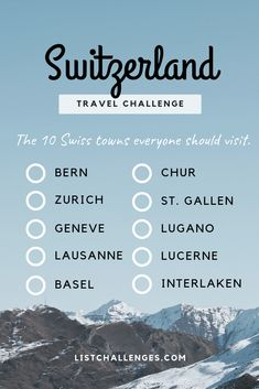 TOP 10 Travel List : Switzerland ~ Travel Challenge ~ How many have place have y… - Travel Tips Travel Checklist, Travel List, Travel Goals, Travel Guides, Travel Hacks, Adelboden, Quiz, Future Travel, Travel Abroad