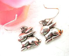 Baby Bunny Earrings Animal Jewelry Wildlife by CharmAccents, $8.00