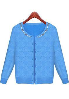 Blue Plain Beading Cardigan