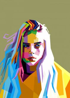 Billie Eilish poster by from collection. Billie Eilish, Portraits Pop Art, Portrait Art, Poster S, Poster Prints, Pop Art Posters, Arte Pop, Print Artist, Cool Artwork