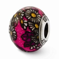 Sterling Silver s Italian Pink Floral Decorative Overlay Glass Be by Reflection Beads -- See this great product.