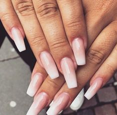 Pink ombre ballerina nails.                                                                                                                                                      More
