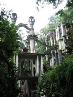 A surrealist garden sulpture in Las Pozas
