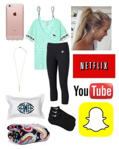 """""""The rest of the day is my lazy day // Read D"""" by one-of-those-nights ❤ liked on Polyvore featuring Victoria's Secret PINK, Victoria's Secret, adidas, Vera Bradley, NIKE, Topshop and Incase"""