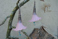 Купить Серьги розовые длинные Серьги с подвесками Лесной цветок - модные длинные серьги