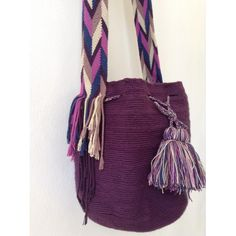 MISS MOCHILA Purple Cotton Handbag
