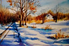 """Daily Paintworks - """"Road Into Winter"""" - Original Fine Art for Sale - © Kathy Los-Rathburn"""