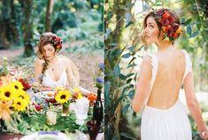 bohemian wedding dress - photo by Danielle Poff Photography http://ruffledblog.com/bohemian-forest-wedding-editorial-in-maui