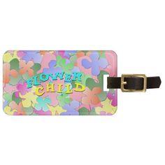 Pastel Flower Collage FLOWER CHILD Luggage Tag