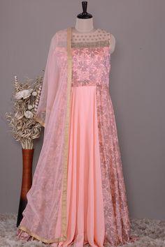 Maxi Dresses, Girls Dresses, Flower Girl Dresses, Wedding Dresses, Long Anarkali Gown, Cotton Silk, Peach, Gowns, Patterns