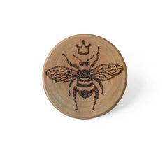 Queen Bee Pin // Honey Bee Brooch // Wood Bumblebee // Gifts