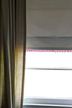 roller shades with pompom trim