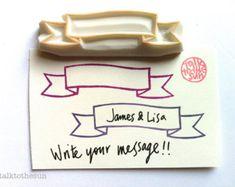 ribbon banner rubber stamp - hand carved rubber stamp - handmade journaling stamp