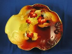 "Jean Pouyat (JP) Limoges Pickard Studios Currant Motif Centerpiece Bowl (Signed ""Rean"" for Maxwell Rean Klipphahn/c.1903-1905)"