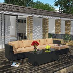 Outdoor Wicker Patio 5 Piece Sectional Sofa Set in Espresso Mocha | Contemporary Furniture Warehouse