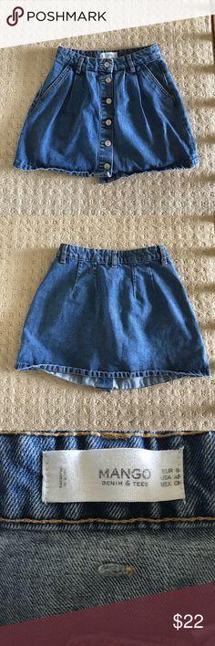 Mango Denim Skirt Mango Denim Button Up skirt Mango Skirts Mini