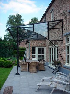 Pergola With Roof, Pergola Patio, Outdoor Landscaping, Backyard, Covered Walkway, Covered Pergola, Sas Entree, Patio Door Coverings, Timber Roof