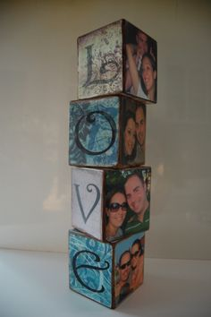DIY Block Letters cute for family too. Cristina Plemons we have to try this! Cute Crafts, Diy And Crafts, Arts And Crafts, Wood Block Crafts, Wood Crafts, Diy Wood, Diy Photo, Photo Craft, Craft Gifts