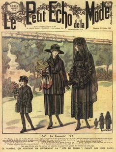 Mourning dress for women, teens and children, 1917 France, Le Petit Echo de la Mode The elaborate rituals of public mourning were in decline by mainly because WWI had given people way too many reasons to mourn and because it was impractical for. Edwardian Era, Victorian Era, Edwardian Fashion, Vintage Ads, Vintage Posters, Death Becomes Her, Mourning Dress, Jean Délavé, Mode Costume