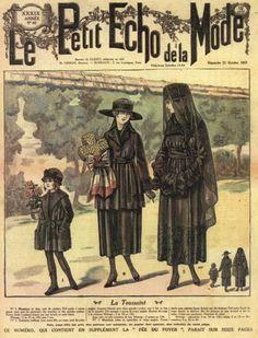 Mourning dress for women, teens and children, 1917 France, Le Petit Echo de la Mode