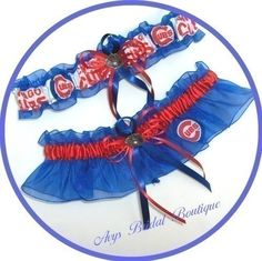 Wedding Garter Set Handmade with Chicago CUBS fabric