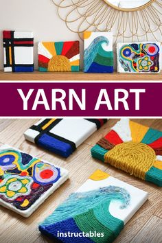 Create funky art pieces by gluing yarn onto canvases. Easy Yarn Crafts, Yarn Crafts For Kids, Fun Crafts, Arts And Crafts, Craft Kids, Craft Art, Yarn Painting, Painting Crafts Kids, Painting For Kids