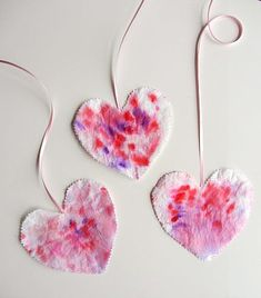 Classic preschool craft. Decorate for valentines day or any day with these fun coffee filter hearts.