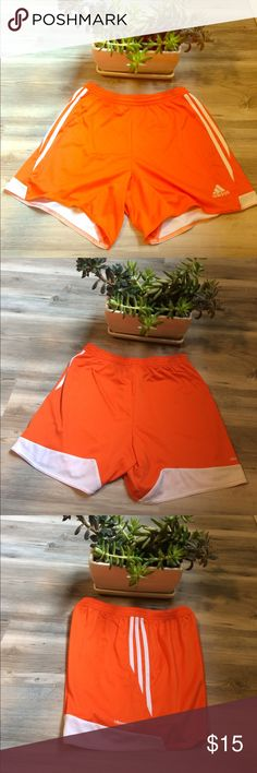 """Adidas climacool soccer shorts Orange and white adidas soccer shorts with inner drawstring. """"Ventilated climacool keeps you cool and dry."""" adidas Shorts"""