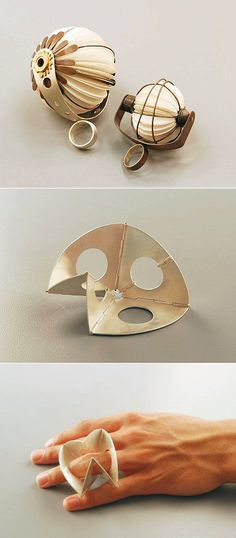 Whether it's a silver version of the fortune teller game or a couple of spherical fans, paper figures prominently in the work of Houston jeweller Tarina Frank