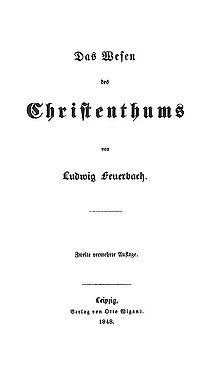 The Essence of Christianity-- (German: Das Wesen des Christentums; historical orthography: Das Wesen des Christenthums) is a book by Ludwig Feuerbach first published in 1841. It explains Feuerbach's philosophy and critique of religion.