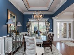 Gorgeous blue dining room at The Sanctuary at River Ridge New Home Dining Rooms | Photo Gallery | Jeff Benton Homes