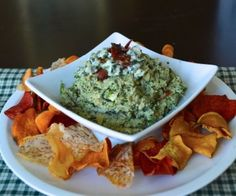 Bacon Blue Cheese Spin Dip is the perfect gameday snack and twist on classic spinach artichoke dip!