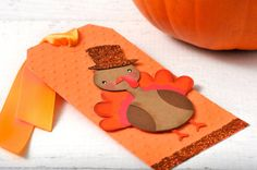 READY TO SHIP | Turkey Gobble gift tag. Orange Thanksgiving gift topper embellishment. Gift Wrap, Thanksgiving gifts, Thanksgiving Party