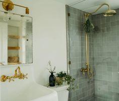 Guest Bathrooms, Bathroom Renos, Bathroom Flooring, Light Green Bathrooms, Earthy Bathroom, Green Bathroom Tiles, Bathroom Tile Showers, Garden Bathroom, Shower Walls