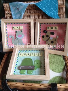 Animal Nursery Scrabble Art Frame by BubbaPipsqueaks on Etsy, Scrabble Letter Crafts, Scrabble Tile Crafts, Scrabble Art, Scrabble Letters, Box Frame Art, Box Frames, Homemade Pictures, Crafts With Pictures, Frame Crafts