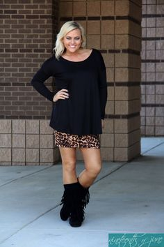 0d994141bfb7 Leopard Mini Skirt * Black Piko * Fringe Boots * Fashion * Style * Boutique  * NOJ Boutique