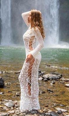 Emma Ostergren - Handmade crochet exclusive wedding dress in white