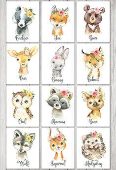 Woodland Nursery Girl, Girl Nursery, Girl Room, Baby Animal Drawings, Cute Drawings, Nursery Wall Art, Wall Art Decor, Nursery Room, Room Decor