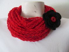CRocheted Red Infinity Rope Cowl Scarf With by zahraknitting, $17.90