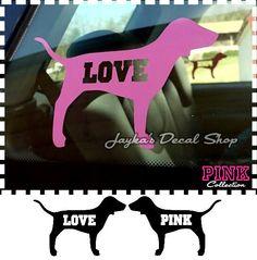 Victoria's Secret LOVE PINK Dog SET Car Truck by JaykasDecalShop, $9.99