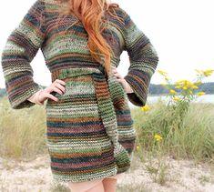 Gina Michele: Textured Cardigan [knitting pattern]..  Needles size 10 1/2 US Yarn- Loops & Threads Charisma in Deep Woods (8- 3.5 oz balls)