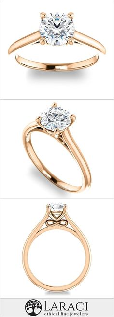 14K Rose Gold Infinity Solitaire Engagement Ring set with a 1.9ct (8mm) Round Forever Brilliant Moissanite