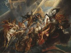 """Peter Paul Rubens """"The Fall of Phaeton"""" Oil on canvas Baroque Located in the National Gallery of Art in Washington DC, United States Phaeton, son of the sun god Helios, asked his. Peter Paul Rubens, National Gallery Of Art, Art Gallery, Baroque Painting, Baroque Art, Caravaggio, Rembrandt, Pedro Pablo Rubens, Rubens Paintings"""