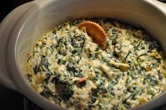Spinach-Artichoke-Alfredo Dip! Made this for Labor Day as well, I added cheese in top, would add more inside to make it thicker