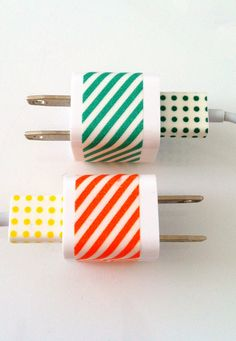 Decorate/personalize/label iphone chargers with washi tape. Great idea for teachers. At a campus where everyone has Mac chrgrs. We stick return address labels on them, this more fun!