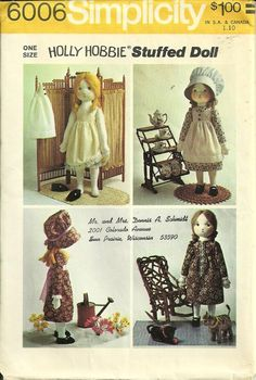 Simplicity Pattern 6006 Holly Hobbie Stuffed Doll cut but | Etsy