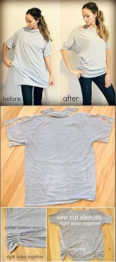I can do this with the t shirts my dad gave me!! Since they are too big and men's. by gale