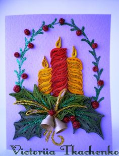 Quilling Greeting card, Christmas quilling card, New Year quilling card - candles