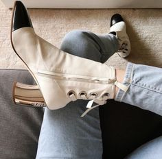 70def21947c Shoes  tumblr boots white boots high heels boots black and white denim  jeans light blue