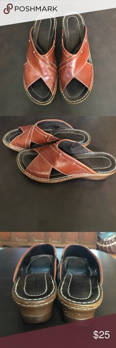 Josef Seibel Camel-Colored Leather Sandals Full grain leather upper.Easy slip-on style. Leather lining. Comfortable wedge heel. Very good preowned condition. Women's 40 (9 to 9.5). Josef Seibel Shoes Sandals